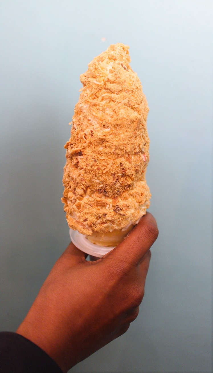 sweet jesus toffee nosed rai lemon coconut pie cone soft serve